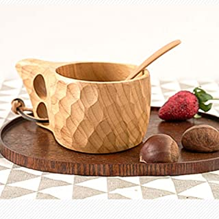FYBIN Handmade Wooden Cup Novelty Mug Teacup Coffee Milk Crafts Drinking Reusable Home Decor Travel Drinkware Gift Water (...
