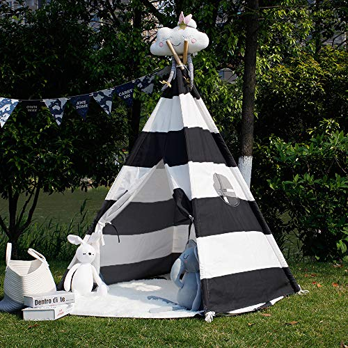 TOUCH-RICH 5 FT Durable Teepee for Kids, Indian Play Tent, Sturdy & Safe Kids' Furniture with Window & Floor (Stripe Black Teepee)