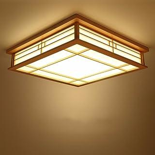 GQLB Luz de techo japonés madera maciza lámparas LED Lámparas de luz de tatami japonés Salón Dormitorio Balcón registros coreano luz 350*350*100mm, luz cálida
