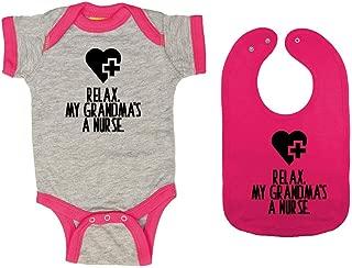 Relax. My Grandma's A Nurse. - Baby Ringer Bodysuit & Premium Bib Gift Set