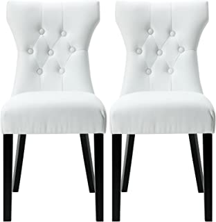 Modway Silhouette Modern Tufted Faux Leather Upholstered Parsons Two Kitchen and Dining Room Chairs in White