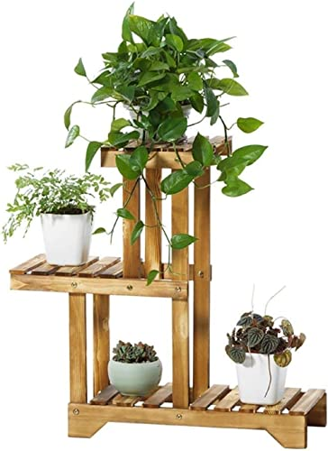 Sharpex Plant Stand Rack Indoor & Outdoor, 3 Tier Wood Plant Display Rack with Multi Shelves, Flower Pots Organizer H...