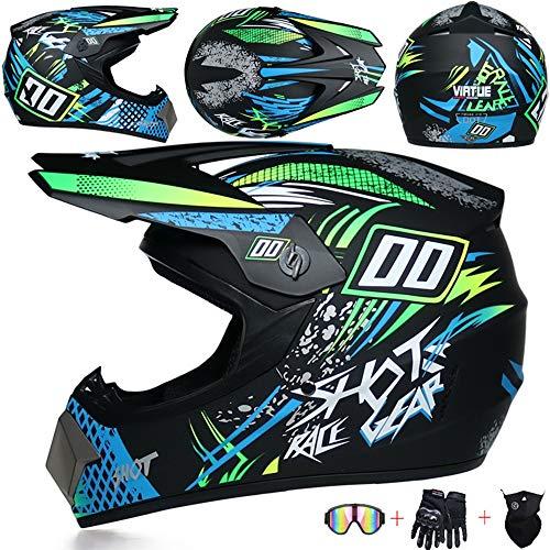 JCLDG Motorcycle Helmet Motocross Helmets Kids Set with Goggles Mask Gloves, Boys Girls Motorbike Sport Off-Road Enduro Downhill Helmet ATV MTB BMX Quad Dirt Bike Full-face Crash Helmet,Green,M
