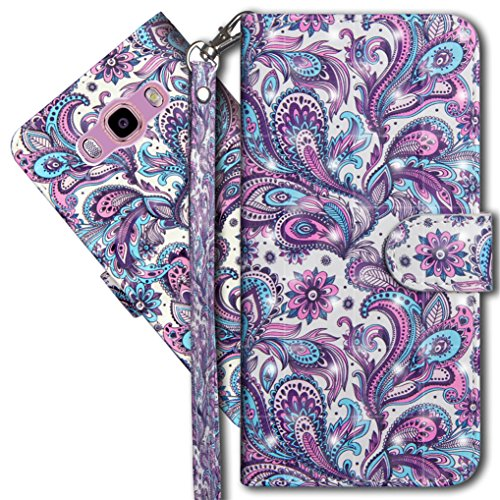 COTDINFORCA J2 Prime Wallet Case, Galaxy Grand Prime Premium PU Leather Case, 3D Creative Painted Effect Design Full-Body Protective Cover for Samsung Galaxy J2 Prime G532. PU- Peacock Flower