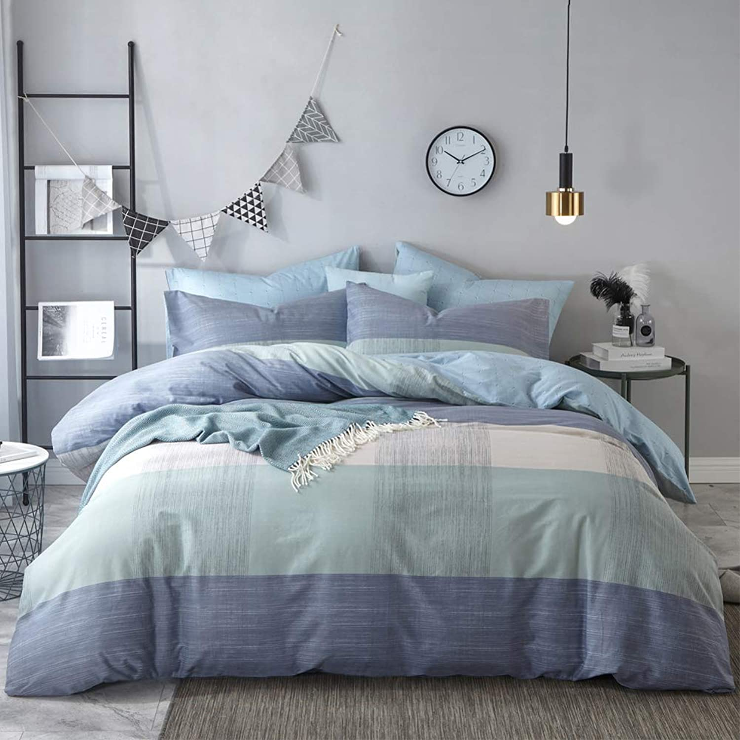 Mixinni Geometric Duvet Cover Queen Soft Cotton bluee Patchwork Modern Bedding Set with Zipper Ties Mint Green Duvet Cover Set Perfect for Him and Her, Easy Care, Soft and Durable-Queen Full Size