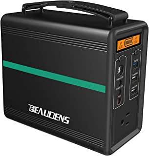 BEAUDENS Portable Power Station 166Wh, Lithium Iron Phosphate Battery LiFePO4, 2000 Cycles, 10 Years Life, 110V/150W AC Outlet, Solar Generator for Outdoors Camping Travel Fishing Emergency Backup