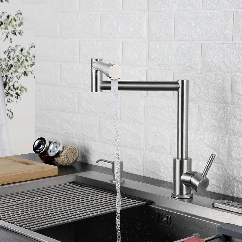 Klappküchenarmatur Dehnbare Schwinge Gebürstet Einlochmontage Einhand-Deck montiert Cold & Hot Spültischarmatur