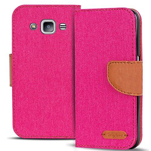 Verco Galaxy J1 Hülle, Schutzhülle für Samsung Galaxy J1 2016 Tasche Denim Textil Book Case Flip Case - Klapphülle Pink