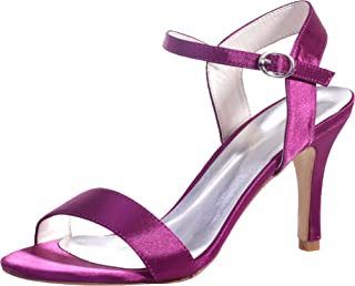 Vimedea Womens Ankle Strap Heeled Sandals Wedding Bride Open Toe Satin 9920-03