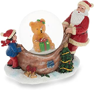 BestPysanky Santa Opening a Teddy Bear Gift Miniature Snow Globe