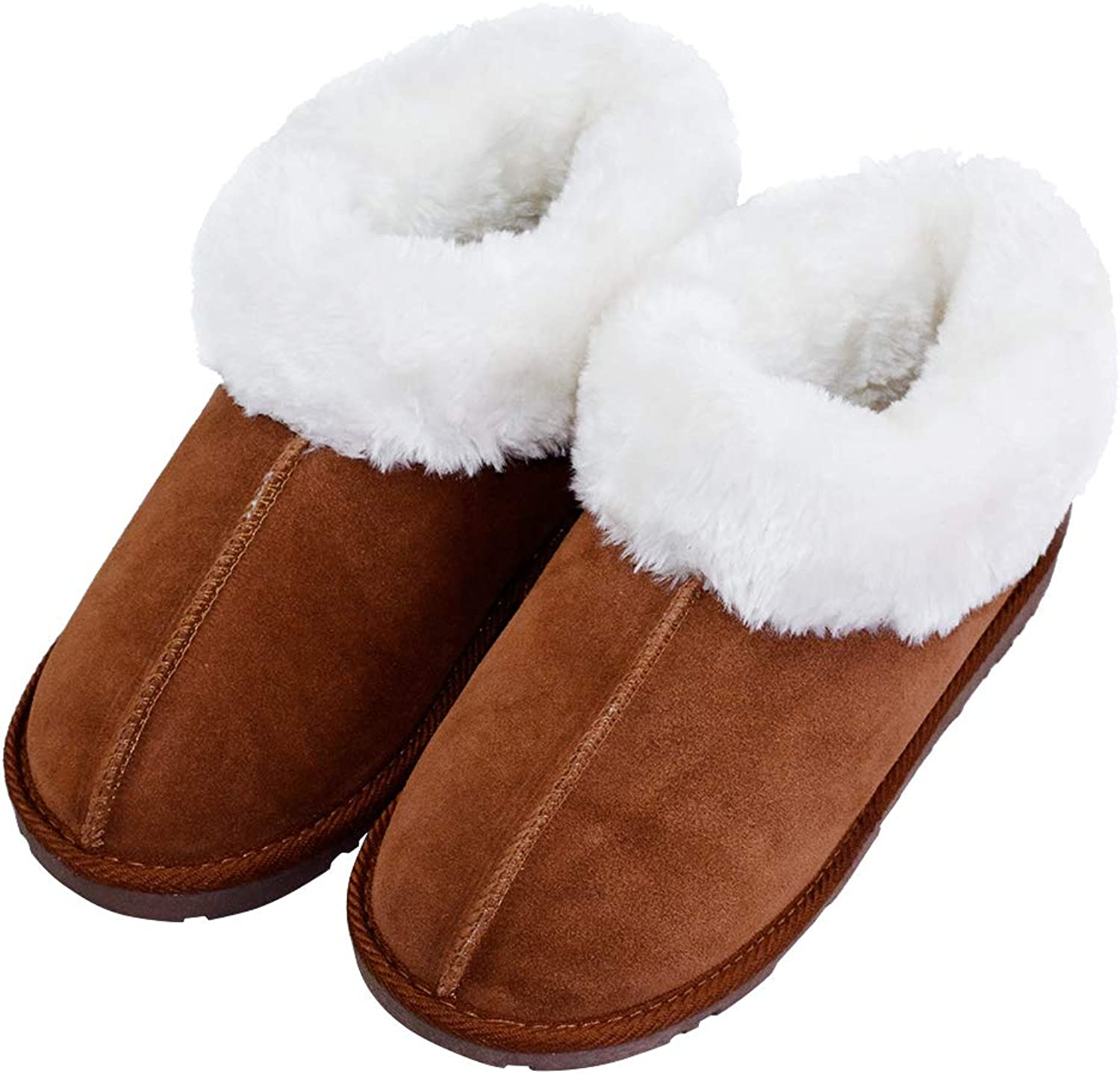 VLLY Women's Genuine Cowhide Warm Plush Lining Slip On Indoor House Slippers