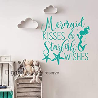Quote Wall Decals Mermaid Kisses and Starfish Wishes Decal Mermaid Wall Art Sticker Girls Room Decor (Teal,16