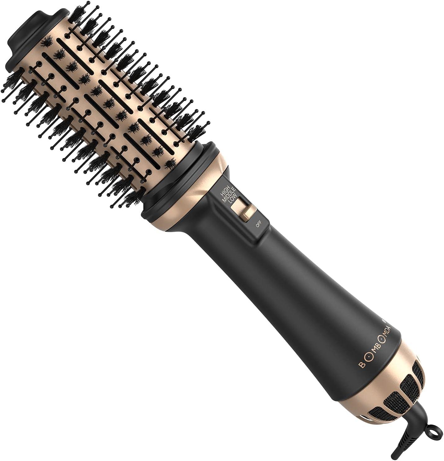 Cepillo de Aire Caliente, BOMBOMDA 4 en 1 Cepillo Secador de Pelo Secador Moldeador Rizador y Plancha, 3 modos, Multifunción Secador de con Iones Negativos para Peinado de Salón de Belleza