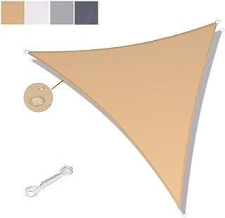 SUNNY GUARD Toldo Vela de Sombra Triangular 3.6x3.6x3.6m Impermeable a Prueba de Viento protección UV para Patio, Exteriores, Jardín, Color Arena