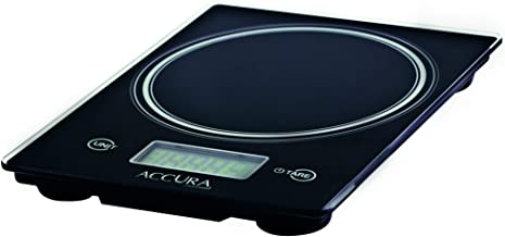 ACCURA ACC2370 Aquarius Pro Electronic Kitchen Scale, 15kg/1g/1ml, Glass/Black