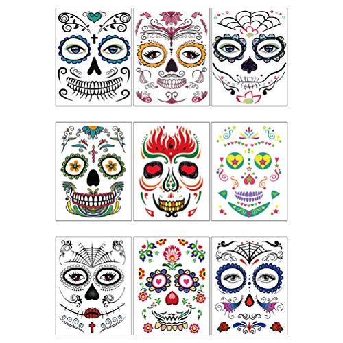 Amosfun 9pcs día del cráneo muerto del azúcar tatuaje temporal de la cara tatuaje de maquillaje de halloween para el cuerpo de halloween decorativo