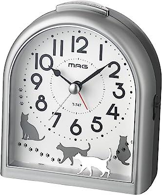 MAG(マグ) 目覚まし時計 ねこ アナログ ミグレイト 静音 連続秒針 スヌーズ機能 ライト付き シルバー T-747SM-Z