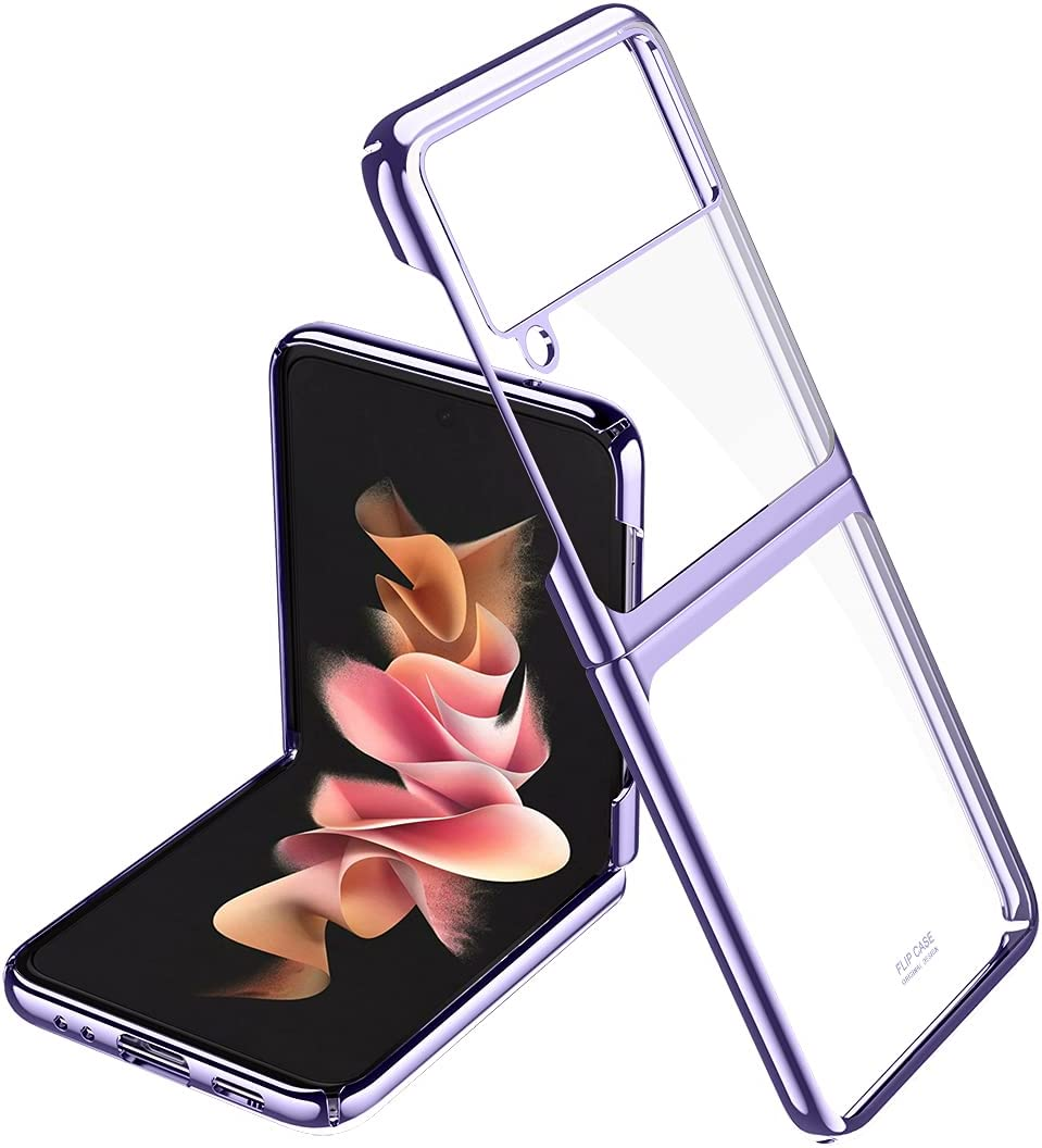 ANLYGOLD for Samsung Galaxy Z Flip 3 Case, 360° Full Protection Ultra-Thin Transparent Plating Hard PC Bumper Cover Finish Shookproof Protection Cover for Samsung Galaxy Z Flip 3 5G (Purple)