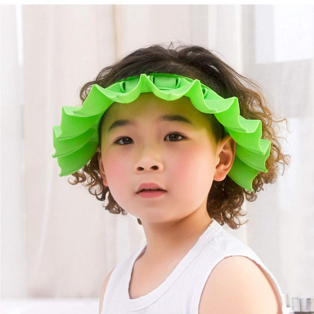 Baby Shower Cap for Kids, Adjustable Silicone Shower Visor Fit Head Size 16.5 to 22.8 Inchs, Funny Waterfall Bath Hat Protect Eyes Ears Face for Kids, Babies, Toddler, Women, Adults - Green