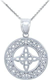 14k White Gold Round Celtic Trinity Knot Pendant Necklace
