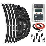 Giosolar Panel Solar 400 W Flexible Panel Solar Kit Cargador de Batería Monocristalina 40A LCD MPPT Controlador de Carga para Barco Caravana Off-Grid