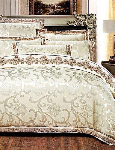 GAOL,Costume de quatre pièces,4 pièces jacquard style rome literie de soie noblesse de haute qualité, la literie brodée housse de couette, full-beige, full-beige