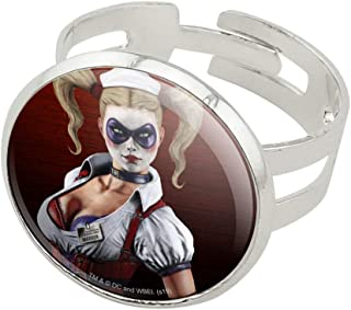 GRAPHICS & MORE Batman Arkham Asylum Video Game Harley Quinn Silver Plated Adjustable Novelty Ring