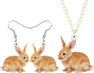 WEVENI Acrylic Easter Rabbit Bunny Jewelry Set Hare Earrings Necklace Pendant Sweet Gifts for Women Girls Ladies