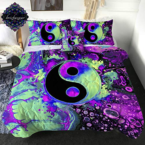 Sleepwish Boho Full Comforter Set Colorful Yin Yang Bedding Comforter 4 Pieces Trippy Psychedelic Art Splash Bubbles Bed Set with 2 Pillow Cases 1 Cushion Cover Purple Pink Turquoise