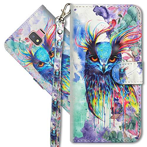 MRSTER Funda para Samsung Galaxy J2 Core, 3D Brillos Carcasa Libro Flip Case Antigolpes Cartera PU Cuero Funda con Soporte para Samsung Galaxy J2 Core. YX 3D Colorful Owl