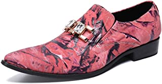 Rui Landed Oxford For Men Formal Shoes Slip On Style Premium Genuine Leather Imitation Diamond Embossed Pointed Toe Flats Block Heel (Color : Pink, Size : G-41)