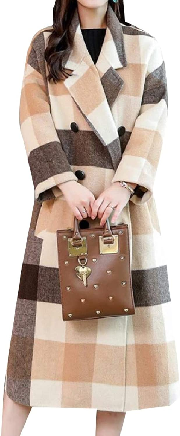 Abetteric Women's Plaid Thick Trench Jacket Double Button Woolen Pea Coat