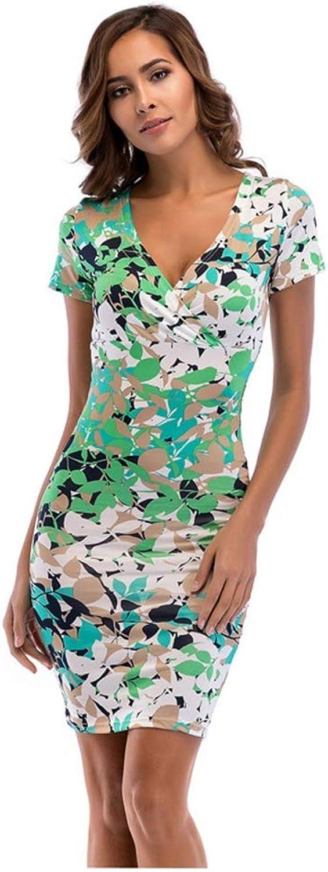CARRY Dress, Summer European and American Women's Dress Deep VNeck Print Bag Hip Skirt Pencil Skirt (Size   XXL)