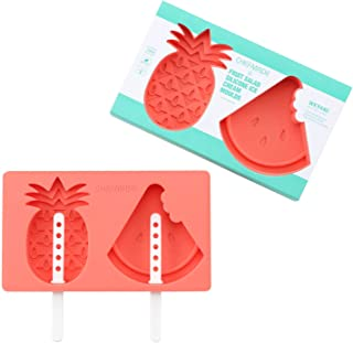 CHEFMADE Ice Pop Molds, Silicone Popsicle Maker with Lid and Sticks, Pineapple and Watermelon Shape, FDA Approved Easy-release BPA Free (Red)