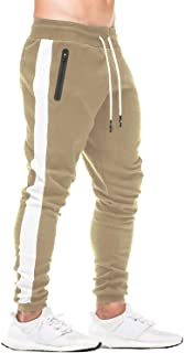 FEDTOSING Mens Joggers Gym Sweatpants Tracksuit Bottoms Casual Jogging Workout Trousers with Zipper Pockets