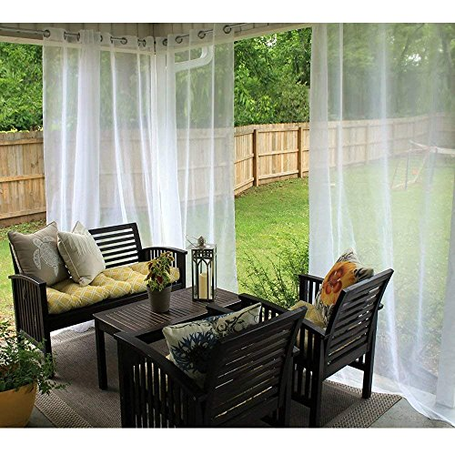 RYB HOME Outdoor Indoor White Sheer Curtain Drape for Patio, Outdoor Gazebo Curtain Voile Privacy Curtain for Porch, 1 Piece with 1 Tieback Rope, 54-inch Wide x 120-inch Long