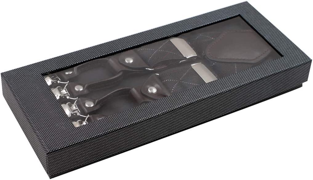 niumanery Men Black Plaid Y-Shape Suspender with Non-Slip 6 Clips Elastic Adjustable Brace