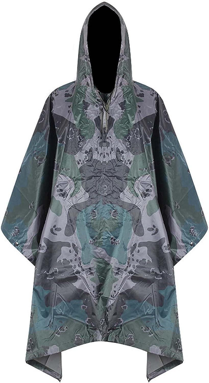 FHGH 3 in 1 Camouflage Raincoat Cloak, Multifunction PVC Hooded Rain Poncho, Waterproof Ground Mat, Portable Sunshade Cloth,B,Medium