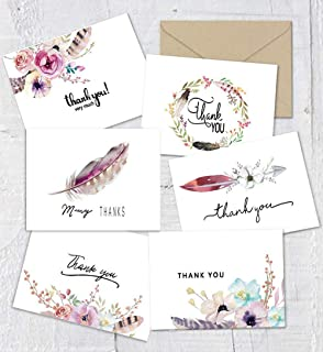 Boho Thank You Cards Bohemian Chic Thank You Notes Card, 48 Bulk Pack Thank You Cards Set, Blank Inside, 4 x 6 Inches - Bridal Shower or Baby Shower Wedding Thank You Card with Envelopes and Stickers