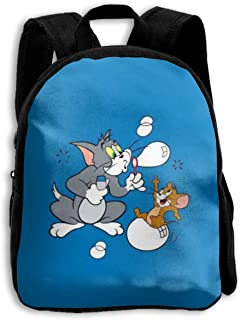 MPJTJGWZ Children's Backpack Casual Oxford Cloth Fashion Happy Tom and Jerry Print School Bag