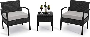 GREARDEN 3 Pieces Outdoor Patio Chairs, Rattan Chair Set,Wicker Chair Outdoor Furniture, Outdoor Table and Chairs for Patio,