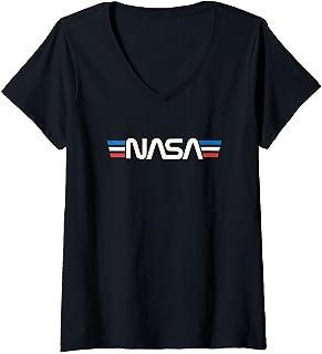 Femme Badge spatial rétro vintage Astronomie NASA T-Shirt avec Col en V
