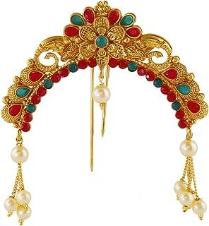 Anuradha Art Jewellery Green-Red Colour Wonderful Traditional Ambada Juda Pin for Women