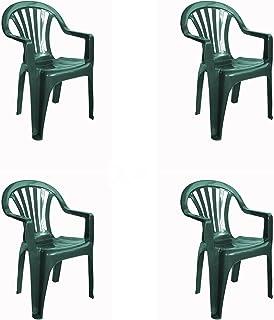 RESOL New Pals Set 4 chaises en Plastique avec accoudoirs, léger et empilable. Fauteuil pour l'événement extérieur ou inté...