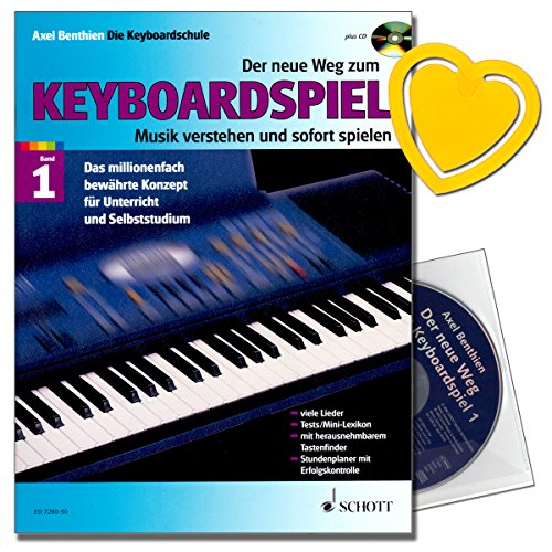 Der neue Weg zum Keyboardspiel - Keyboardschule - Axel Benthien - mit CD, herzförmiger Notenklammer