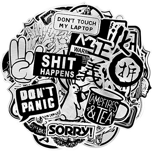 Waterproof Vinyl Stickers for Laptops Headset Skateboard Bike Car Decals(50 Pcs Metallic Stlye)