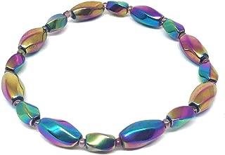 Nelson Creations Magnetic Rainbow Hematite Gemstone Healing Stretch Bracelet, 7 Inches