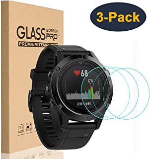 HEYUS [3 Pack] Tempered Glass Screen Protector 9H Hardness Protective Glass for Garmin Fenix 5S, 2.5D Full Coverage High D...