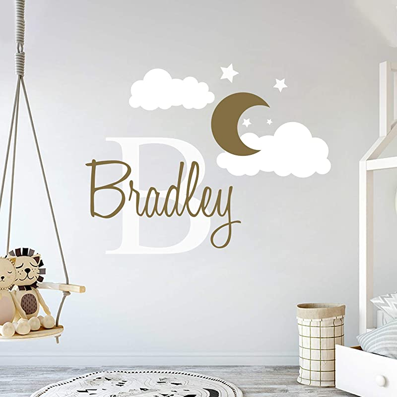 Custom Name Initial Moon Clouds Stars Baby Boy Nursery Wall Decal For Baby Room Decorations Mural Wall Decal Sticker For Home Children S Bedroom MM109 Wide 32 X 24 Height