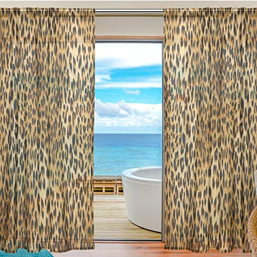 BEETTY Sheer Curtains 84 Inches Long for Living Room Bedroom Kitchen Boy Girl's Room Leopard Print Voile Window Sheer Curtains Drapes 55x84 inches,2 Panels Set